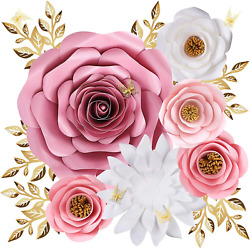 Paper Flowers Decorations for Wall Large 3D Artificial Fake Flower Wall Decor $25.99