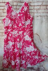 Robbie Bee Dress 20W Pink White Floral Plus Size Fully Lined Pretty Sundress 20 $20.03
