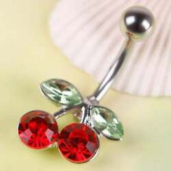 Emerald amp; Ruby 18K WhiteGold Over Fruit Cherry Navel Piercing Belly Button Ring $89.99