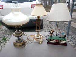 5 different vintage lamps golf ship fish hurricane $130.00