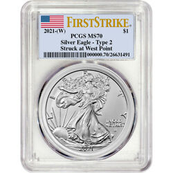 2021 W American Silver Eagle Type 2 PCGS MS70 First Strike $61.35