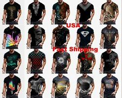 Men T Shirt Cool Graphic Fashion Short Sleeve Tee Fitness Soft Casual Activewear $17.86