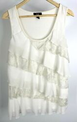 AGB Women#x27;s Ivory Ruffled Sleeves Top With Lace. Size L $9.10