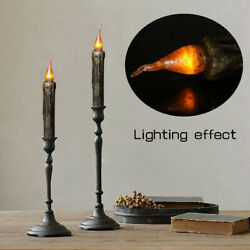 170mm Vintage Style Black Wax LED Candle Taper Candle Flameless Pillar Candle $7.48