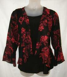 Black amp; Red Floral Plus 2X 18 20 Church Office Layer Look Dressy Shirt $20.00