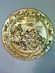 PAIR VINTAGE BRASS WALL PLATE CHARGERS set of 2 $27.00