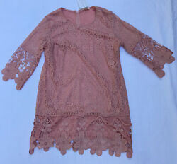 kings road womens XL Blush lace dress 3 4 sleeves Summer Spring $19.00