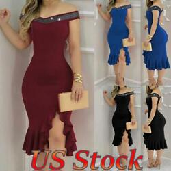 ❤Women Sexy Slim Rhinestone Off Shoulder Gown Bodycon Party Cocktail Dresses❤ $25.39