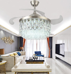 42quot; Modern Retractable Ceiling Fan Light Silver Crystal LED Chandelier W remote $199.49