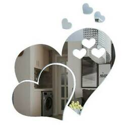 Kitchen Wall Sticker Heart Shaped Mirror Tiles Stick on Decal Home Bedroom Decor $5.31
