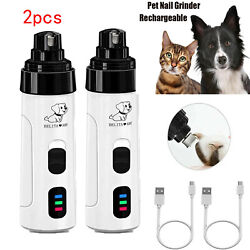 2pcsx Pet Dogs Nail Cat Nail Clip Clippers USB Animal Grooming Trimmer Low Noise $16.98