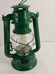 Vintage Style Hurricane Lantern with 12 LED#x27;s Battery operated Green camping $28.79