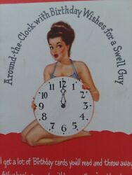 Mid Century Vtg PIN UP GIRLS for Swell GUY Round The Clock BIRTHDAY Greet CARD $32.00