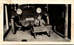 1920s Baby Smiling in Wooden Bouncer Chair by Classic Car FOUND BW Photo 00222 $6.98