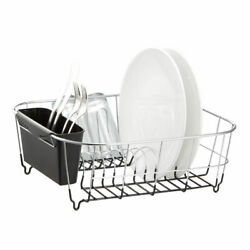 Kitchen Steel Over Sink Dish Drying Rack with Cutlery Holder Drainer Organizer $23.87