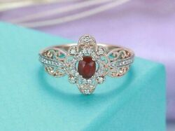 2Ct Oval Cut Red Garnet Vintage Two Tone Engagement Ring Rose White Gold Finish $110.70