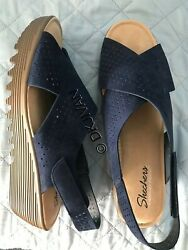 Skechers Navy Blue Slingback Wedge Leather Sandals 12 Womens NEW $9.94