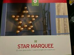 Target STAR LIGHT DECORATIVE 24 inch MARQUEE SIGN NEW IN BOX 20 Lights $27.99