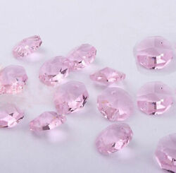 20pcs 14mm Pink Crystal Octagonal beads Decoration Crystal chandelier parts #1 $2.00