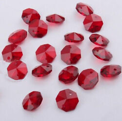 20pcs 14mm Red Crystal Octagonal bead Prism Decoration Crystal chandelier parts $2.00