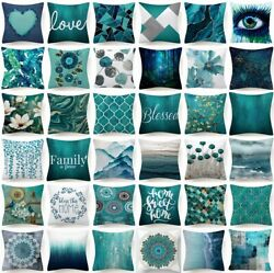 18x18quot; Cushion COVER Teal Blue White Double Sided Decorative Throw Pillow Case $6.86