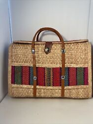 Handwoven Wicker Bag Large with Woven Rainbow Stripe $32.99