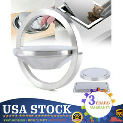Round Square Trash Can Cover Embedded Countertop Bin Cover Stainless Steel USA $28.50
