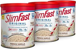 Slimfast Original French Vanilla Meal Replacement Weight Loss Powder 3 Pack $26.04