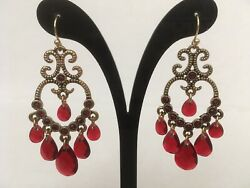 Avon Chandelier Gold tone Earrings with Red Stones $19.99