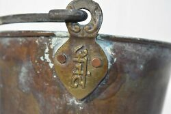 VINTAGE SMALL COPPER BUCKET PAIL COPPER SWING HANDLE SIGNED HANDLE HOLDER $19.99