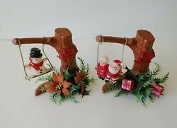 Two Xmas Decorations: Santa Mrs Claus And Frosty The Snowman Swinging In Trees $9.99