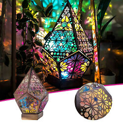 Wooden LED Light Polar Star Large Floor Lamp Bohemian 3D Hollow Colorful Outdoor $18.77