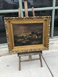 LARGE IMPORTANT LOOKING FINE ART ANTIQUE FRAMED OIL ON CANVAS SHEEP PAINTING $1500.00