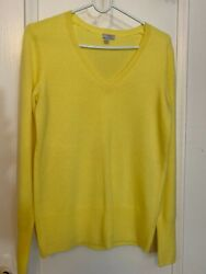 HALOGEN 100% CASHMERE V NECK SWEATER SIZE S COLOR YELLOW BARELY USED $17.00
