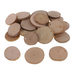 30 Pieces Unfinished Predrilled Natural Wooden Slices DIY Rustic Decorations $9.78