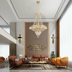 CRYSTAL LUXURY CHANDELIER FRENCH EMPIRE LARGE FOYER GOLD CEILING LIGHTING 30quot;H $191.80