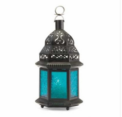 Small Black Glass Iron Moroccan Style Hanging Candle Lanterns Assorted Colors $23.99