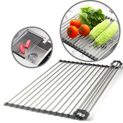 Kitchen Stainless Steel Sink Drain Rack Roll Up Dish Food Drying Drainer Mat XXL $9.96