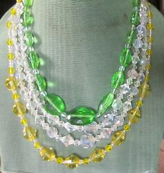 LOVELY VINTAGE CRYSTAL NECKLACE LOT OF 3 GREAT COLORS GREEN amp; YELLOW OLDIES 50#x27;S $20.00
