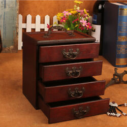 Portable Handmade Antique for Women 4 Drawers Wooden Jewelry Box Large Capacity $30.59