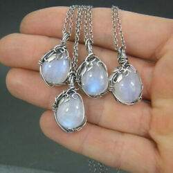 Vintage Silver Moonstone Necklace Pendant for Women Party Jewelry Xmas Gift C $2.15