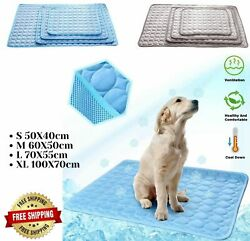Pet Dog Cooling Mat Ice Silk Pet Self Cooling Pad Breathable Blanket Washable $8.25