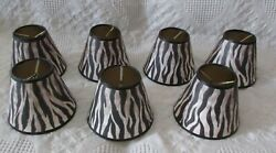 7 Chandelier Shades ONLY FOR CANDELABRA BULBS Clip on Zebra Striped $32.95