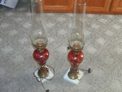 vintage glass table lamps pair $75.00