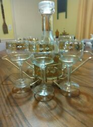 Vintage Mid Century CULVER VALENCIA Glass Decanter 6 Stems Wine Glasses W Stand $50.00