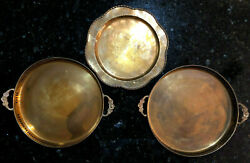 Lot of 3 Vintage 10quot; Solid Brass Serving Vanity Barware Round Trays Made India $51.99