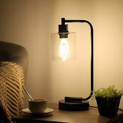 DEWENWILS Industrial Glass Table Lamp with 2 USB Ports Touch Control Dimmable $45.99