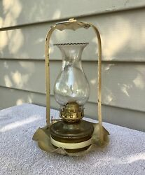 Antique Miniature Hanging Brass Oil Lamp with Brass Fount and Clear Chimney $45.00
