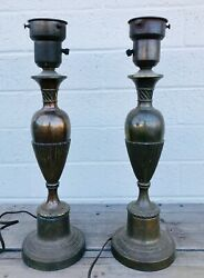 2 Antique Lamps Heavy Brass Vintage Electric Light 18quot; Tall Needs New Wiring $89.89