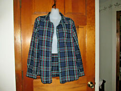 $85 LL BEAN FLANNEL SHIRT COTTON POCKET BLUE GREEN RED PLAID RELAXED L 14 16 40quot; $18.00